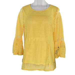 Alfani Embroidered Lace Womens Top M New